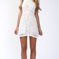 FOR YOUR EYES ONLY BODYCON DRESS IN WHITE