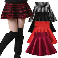 Girls Brief Skirts Spring And Summer Children Pleated Mini Skirts Solid Plaid Princess Kids Skirt