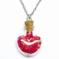 Heart Glitter Necklace, Glass Bottle Jewelry, Jar of Hearts, Pixie Dust Necklace, Fairy Dust, Red Heart Confetti, Party Favors