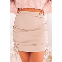 Look, Don't Touch Side Ruched Mini Skirt (Latte)