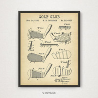Golf Club Patent Print, Digital Download, Gift for Golf Players, Golf Clubhouse Wall Art, Golf Posters, Golf Gallery Wall Mancave Home Decor