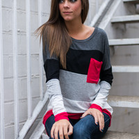 Blocked Pocket Top, Gray/Red