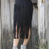 Black Tassel Midi Skirt with Step Hem