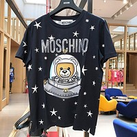 MOSCHINO Trending Women Men Cute Print Pure Cotton T-Shirt Top Blouse Black