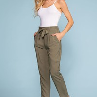 Sable High Waist Pants - Olive