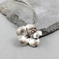 Sterling Silver Hibiscus Pendant, Bold, Statement jewelry, Metalsmithing, Metal, Gifts for her, One of a Kind, Mothers Day READY to SHIP