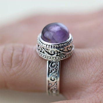 Round Purple Genuine Amethyst Celtic Knot Triquetra Endless Eye Ring