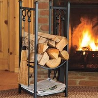 Indoor Firewood Rack w Fireplace Tools Log Storage Kindling Hearth Accessories