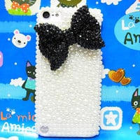 iPod Touch 5 Case,Bling iPod Touch 5 Case,Crystal Black Bow iPod Touch 5th Case,Pearl White iPod Touch 5 case,Bling iPod Touch 5 gen Case A1