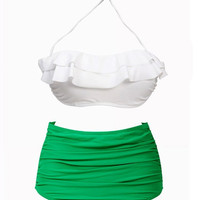 White and Green High-Waist Bikini Set – Lookbook Store