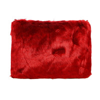 FAUX FUR ZIPPER CLUTCH - BURGUNDY