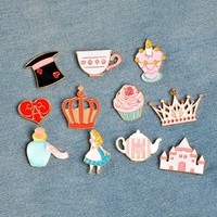 14 pcs/set Fairy Alice Hat Cake Castle Heart Crown Candle Syrup Rabbit Clock Cat Kitten Brooch Button Pins Jacket Badge Jewelry