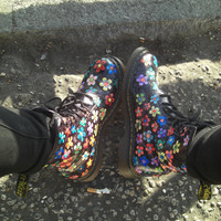 Hand Coloured Floral Multi Doc Marten UK 6 like by SisterPsyche