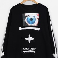 Punk Eye Print Sweatshirt - OASAP.com