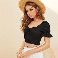 Bow Front Shirred Back Crop Top Boho Beach Sweetheart Neck Black Blouse Cute Slim Fit Womens Tops And Blouses