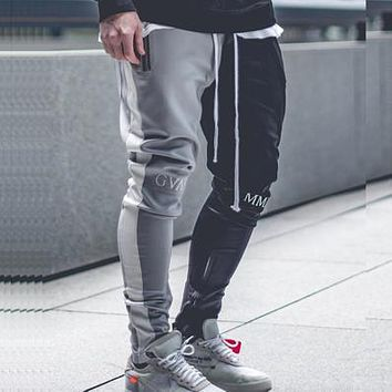 Men Jogger Patchwork Gyms Pants Men Fitness Bodybuilding Gyms Pants Runners Clothing Sweatpants Trousers