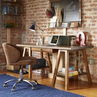 Emerson Sawhorse Desk Hutch, Rustic Hazelnut