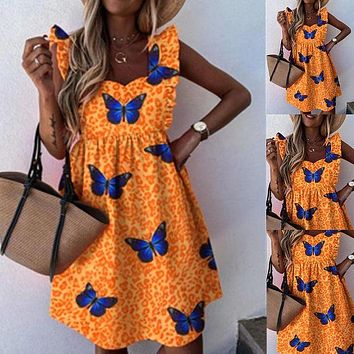 2020 new sexy square neck leopard print butterfly print dress