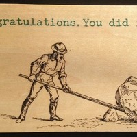 Vintage Cedar Mailable Wooden Post Card (Congratulations. You did it!)