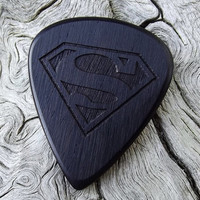 Handmade African Blackwood Premium Guitar Pick - Laser Engraved - Actual Pick Shown - Engraved Both Sides