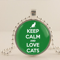 """Keep calm and love cats, green, 1"""" glass and metal Pendant necklace Jewelry."""