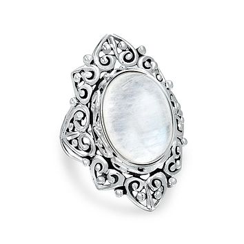 Scroll Oval Gemstone Full Finger Moonstone Ring Band Sterling Silver