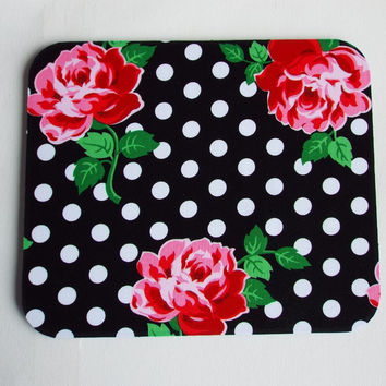 black white dots roses floral Mouse Pad mousepad / Mat - Rectangle or round