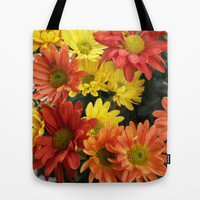 Red, yellow and orange colorful autumn daisy flowers. floral photography. Tote Bag by NatureMatters