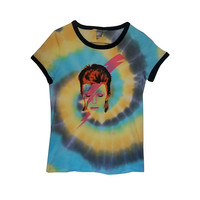 David Bowie Graphic Tie Dye TShirt Rock & Roll Music Tee Space Oddity Womens Medium Clothes Clothing Festival Rave Punk Vinyl Grunge Boho
