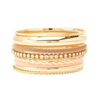 Chain & Rhinestone Bangles - 8 Pack by Charlotte Russe - Pale Peach