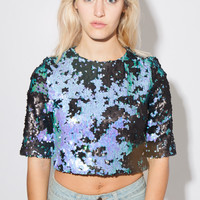 Mixed Sequin Party Top