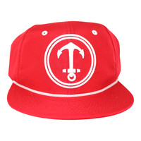 Upside Down Anchor Snapback Hat - YACHT PARTY - Red / White