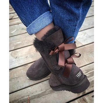UGG Fashion Winter Women Man Cute Bowknot Flat Warm Snow Ankle Boots Shoes