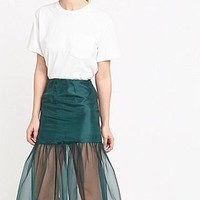 Fleamadonna Shirring Longline Skirt in Green - Urban Outfitters