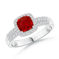 Vintage Inspired Cushion Ruby and Diamond Halo Ring