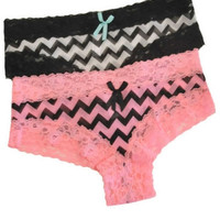 Chevron Striped Cheeky Panties - Pink