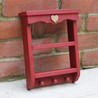 Small rustic country chic red key hanger shelf display