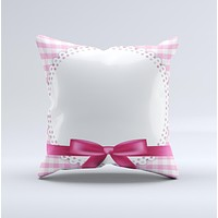 Pink and White Plaid with Lace and Ribbon  Ink-Fuzed Decorative Throw Pillow