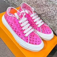 Louis Vuitton LV new best selling jelly transparent printed letters ladies casual sneakers Pink