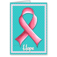 Elegant Pink Ribbon Aqua Polka Dot Greeting Card