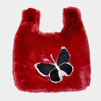 Fluffy Faux Fur Butterfly Slouchy Tote Bag (Click For More Colors)