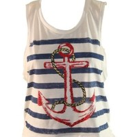White Tank Top with Pink Stripes and Multi Colored Sequined Anchor (Large)