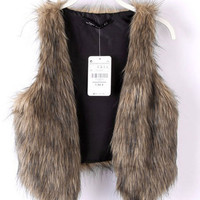 Brown Sleeveless Fall Faux Fur Vest Jacket