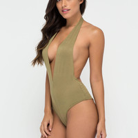 Can You Bare It Plunging Halter Bodysuit GoJane.com