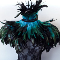 Feather epaulettes - large black teal feather shoulder pads steampunk feathers & double inverted feather neck corset.