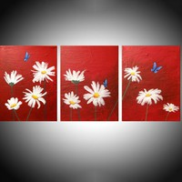 View: original triptych painting on canvas hand made butterflies flowers english countryside abstract landscape floral red blueflower artwork painting art canvas - 48 x 20 inches can | Artfinder