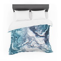 "Tobe Fonseca ""Real Marble Glitch Pattern"" Blue White Abstract Nature Digital Illustration Featherweight Duvet Cover"