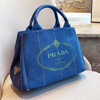 PRADA Women Shopping Bag Denim Canvas Handbag Tote Shoulder Bag Crossbody Satchel