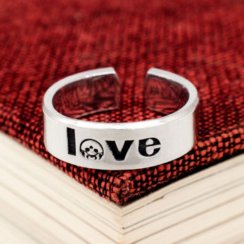 Metroid Love Ring - Classic Gaming - Video Game Jewelry - Adjustable Aluminum Cuff Ring