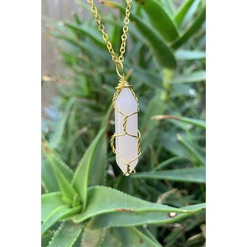 Rose Quartz Crystal Necklace #I1222